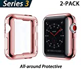 YoLin Apple Watch Series 3 Schutzhülle, iwatch case Weiche Superdünne TPU iwatch Bildschirmschutz All-Aro& Hülle für Apple Watch Serie 3 38mm (1 Roségold + 1 Transparent)