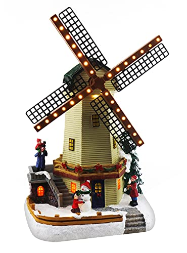 Christmas Village Windmill Animated Pre-lit Musical Winter Snow Village Perfect Addition to Your Christmas Indoor Decorations & Christmas Village Display