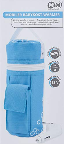 H+H BS 13 Babykostwärmer mit Warmhaltefunktion, Mobiler Babyflaschenwärmer, blau