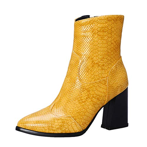 Stivaletti Stivali Invernali Scarpe Moto Stivali da Donna Moda Scarpe a Punta Tacco Alto...