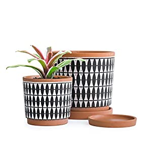 Silk Flower Arrangements Set of 2, Geometric Seamless Design Terracotta Planter Pot, 4 Inch and 6 Inch, Ceramic Plant Pot with Drainage Hole and Tray, Pottery Red/Black, A-958-2-2