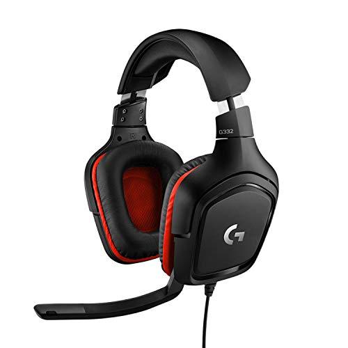 Logitech G332 Cuffie Gaming Cablate, Audio Stereo, Driver da 50 mm, Jack Audio 3.5 mm, Microfono Flip-To-Mute, Padiglioni Rotanti, Leggere, PC/Mac/Xbox One/PS4/Nintendo Switch, Nero/Rosso
