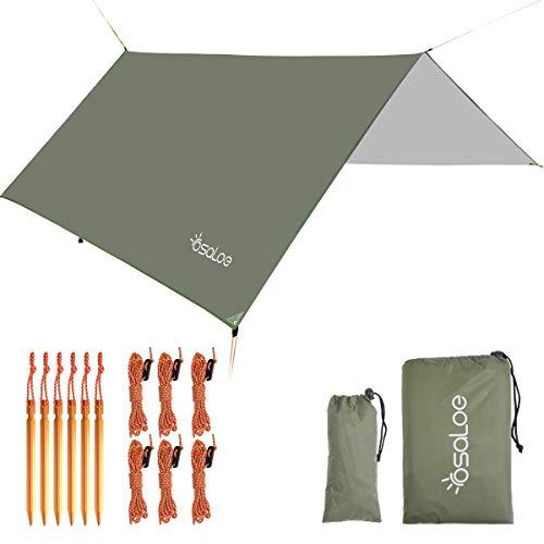 Osaloe Parasole e Coperture da Campeggio, 300cm x 300cm Telo Impermeabile Anti-UV Leggero Impermeabile Multifunzionale Impermeabile da Campeggio Tenda da Sole per Beach