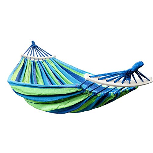 RatenKont Outdoor Double Canvas Hammock Portable Travel Survival Hunting Camping Hanging Chair Swing Chair Hammock Tent Blue