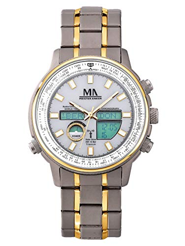 Meister Anker Herren Analog-Digital Uhr in Multicolor mit Armband in Multicolor aus Titan