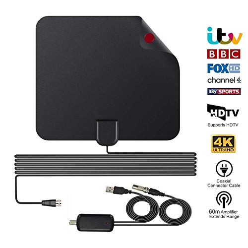 TV Aerial 2020 Nieuwste indoor tv-antennes voor digitale Freeview, 60 Miles + Range HDTV-antenne met afneembare versterker Signaalversterker en 13 FT High Performance Coax-kabel voor Smart TV 4K 1080P