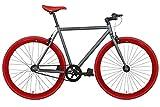 FabricBike- Bicicleta Fixie, piñon Fijo, Single Speed, Cuadro Hi-Ten Acero, 10Kg (L-58cm, Graphite & Red)