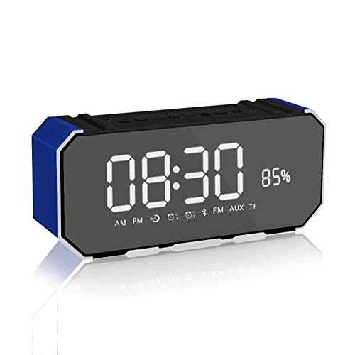 wekker, elektronisch, radio, luidspreker, bluetooth, USB-oplader, TF-kaart, lezer, grote spiegel, LED, dimbaar, AUX-in weergave, hotel, huis, kantoor, slaapkamer, reis.