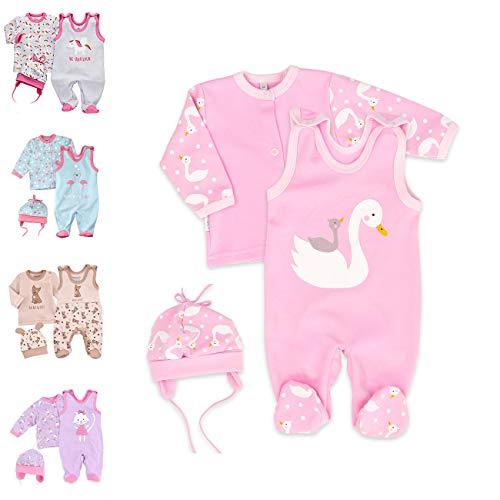 Baby Sweets 3er Baby-Set mit Strampler, Shirt & Mütze für Mädchen in Rosa/Baby-Erstausstattung als Strampler-Set im Schwan-Motiv für Neugeborene & Kleinkinder in der Größe: 9 Monate (74)