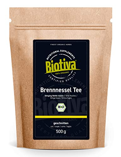 Brennnesselblätter-Tee Bio 500g - Brennesseltee - lose Blätter - 100% Bio Brennnessel-Kräuter - Abgefüllt und kontrolliert in Deutschland (DE-ÖKO-005)