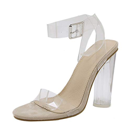 Qmber Damen Extreme High Heels Sandalen Riemen Damenschuhe High Heel Sandaletten Transparent und dick Haspe transparent dick/Clear,39