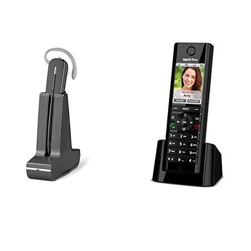PLANTRONICS C565 GAP-kompatibles DECT-Headset fuer Tischtelefone & AVM FRITZ!Fon C5 DECT-Komforttelefon schwarz, deutschsprachige Version