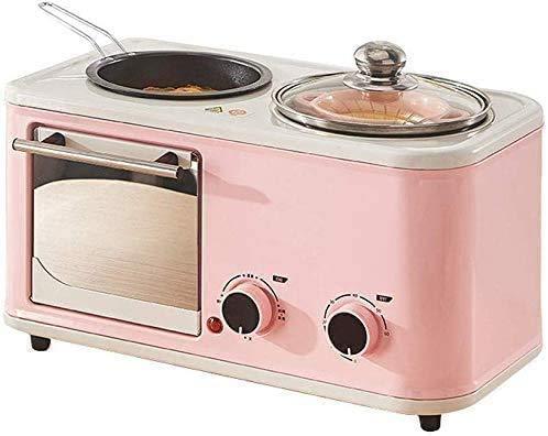 XIUYU Cocineros 5L Mini Horno eléctrico Multi Función Olla de Temperatura Ajustable Reloj de Control Bandeja de Horno con Rejilla metálica 1200W (Color: Verde) (Color : Pink)
