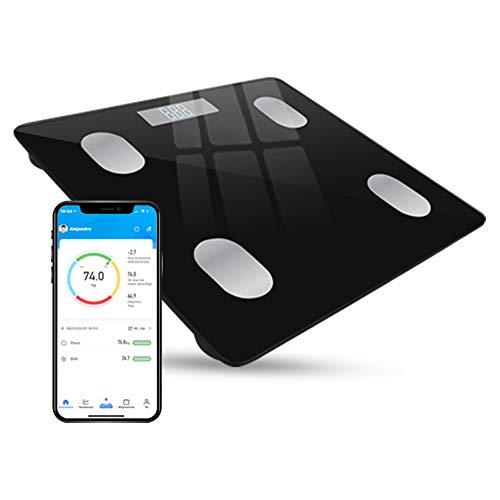 Báscula digital INTELIGENTE, multiusuarios inalámbrica compatible con App iOS y Android en MULTI IDIOMAS. Mide 9 parámetros del cuerpo con tecnología One Step. Capacidad pesar hasta 180 kilos