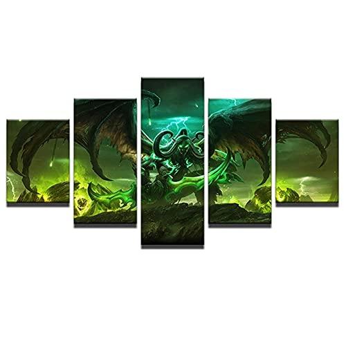 HSBZLH Cinque Dipinti Murali Stile Poster Tela Pittura Decorazione della Stanza 5 Gioco Personaggio...