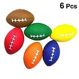 Amosfun Lot de 6 balles de rugby en mousse douce pour jeux de ballon de baseball pour anniversaire, fête d'enfant, jeux de ballon (couleur aléatoire)