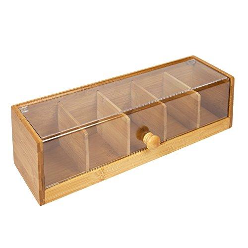 woodluv 5Fach Teebeutel Aufbewahrung Caddy Box Organizer in Bambus und Acryl, Natur