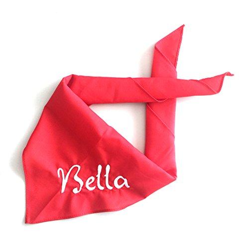 Schnoschi Hundehalstuch Halstuch für Hunde mit Wunschnamen Bestickt in der Farbe Rot