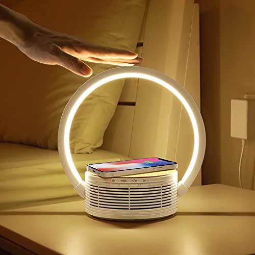 Decorus Lámpara de noche Lámpara de mesa Regulable táctil con altavoz Bluetooth y cargador inalámbrico Qi Cargador inalámbrico de 10 W