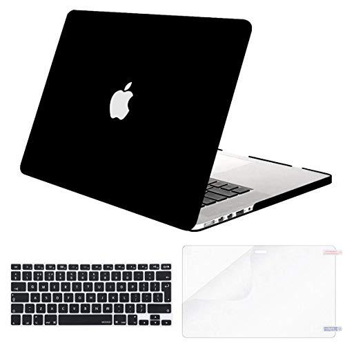 MOSISO Plastica Custodia Rigida&Colore Corrispondente Tastiera Cover&Proteggi Schermo Compatibile con MacBook PRO Retina 13 Pollici (Modelli: A1502 & A1425 Uscita 2015 - fine 2012), Nero