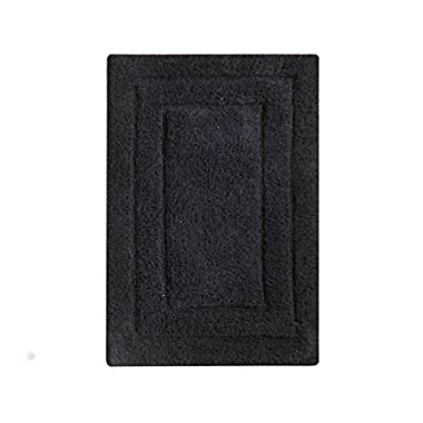 Chardin home Classic Bath Rug, Large 27 X45  Black, 100% Pure Cotton, Super Soft, Plush & Absorbent with Latex Spray Non-skid Backing