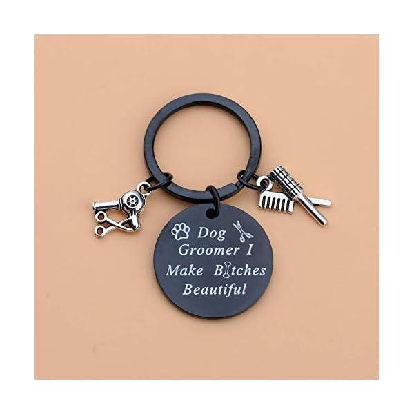 LQRI Dog Groomer Gift Pet Groomer Gift Keychain I Make Bitches Beautiful Hair Stylist Pet Grooming Jewelry for Dog Hairdresser Dog Groomer