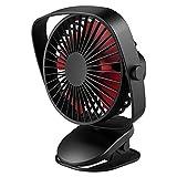 VersionTECH. Mini Clip Fan Desk Fan 360°Adjustable Rotationel Ectric fan, Portable USB Fan with Rechargeable Battery for Bedroom & Outdoor,Special for Baby Stroller Cooling Desktop Table Fans(Black)