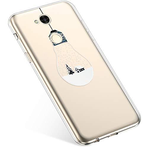 Uposao Kompatibel mit Handyhülle Sony Xperia XA2 Ultra Schutzhülle Silikon Transpatente Hülle mit Weihnachten Muster Durchsichtige Handytasche Ultra Dünn Weich TPU Bumper Case Backcover,Lichter