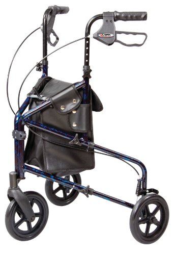 Carex 3 Wheel Walker for Seniors, Foldable, Rollator Walker with Three Wheels, Height Adjustable...
