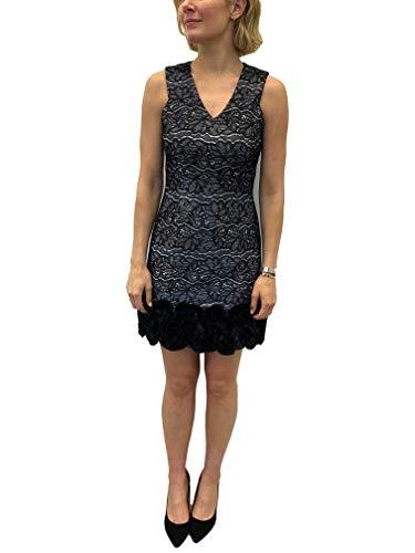 Donna Ricco Women's V-Neck Ruffle Hem Sleeveless Dress, Black/Silver, 14