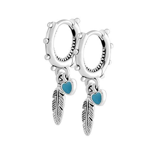 PANDOCCI Pendientes colgantes de verano de 2018, diseño de plumas espirituales, color turquesa, esmalte de plata 925, se adapta a la joyería original de Pandora