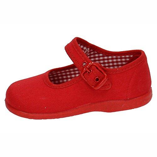 MADE IN SPAIN 951 Lonas DE Tela Rojas NIÑA Zapatillas Rojo 22