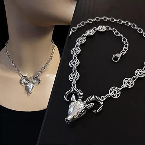 N/A Regalo Colgante de Collar de Mujer Gargantilla de Cabeza de Cabra, Collar de Cadena de Carnero y Pentagrama, Collar,Collar de Cabragótico