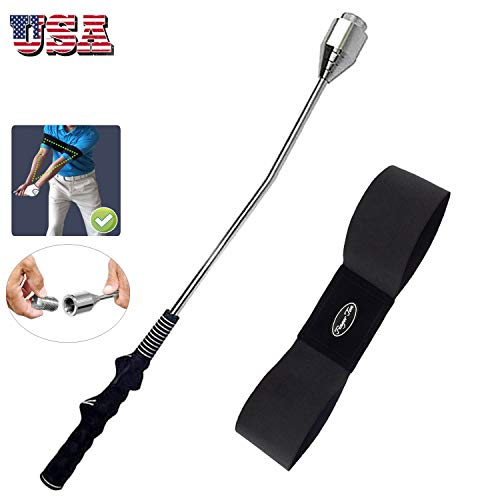Golf Swing Training Aid Stick Grip Trainer with Arm Band Indoor Outdoor Right Handed Golfer Perfect Practice Grips Aids Correction Strength Balance for Men Women Beginner (Golf Swing Stick+Armband)