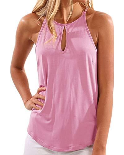 YOINS Mujeres Camisetas sin Mangas Camisas Elegante Blusa Casual Chaleco de Verano Playa Camiseta para Mujere Cuello V Top Rosa XL/EU46