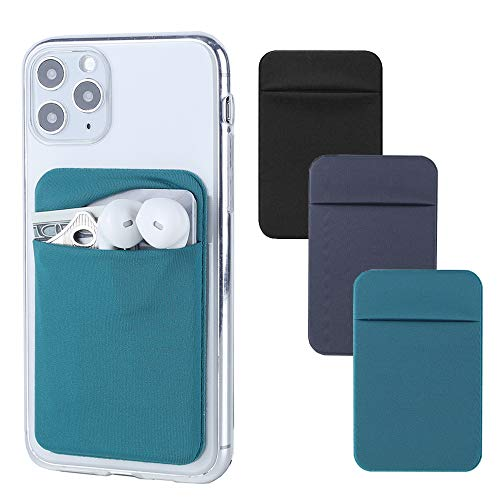 3Pack Cell Phone Card Holder for Back of Phone,Stretchy Lycra Stick on Wallet Pocket Credit Card ID Case Pouch Sleeve 3M Adhesive Sticker for iPhone Samsung Galaxy Android-Dark Green/Blue Gray/Black