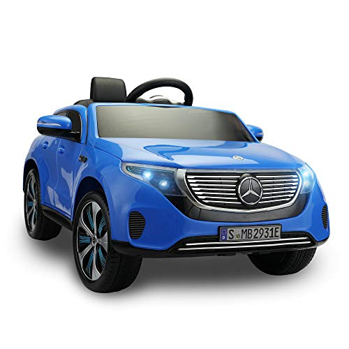 TOBBI Mercedes-Benz EQC Officially Licensed Ride-On Children's Toy Car with Double Electric Motors and Shock-Absorbing Suspension, Blue