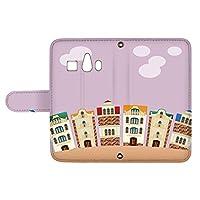 スマQ シンプルスマホ3 509SH 国内生産 カード スマホケース 手帳型 SHARP シャープ シンプルスマホスリー 【E.パープル】 町並み イラスト ami_vd-0252