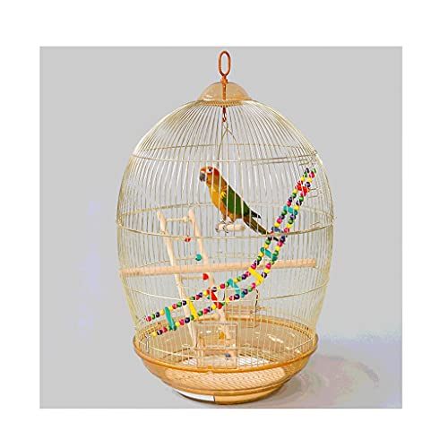 ZANZAN Vintage Metal Bird Cage With Rolling Stand Feeder Toys,High-strength Steel Bird Flight Cage For Travel Or Home Use-Gold