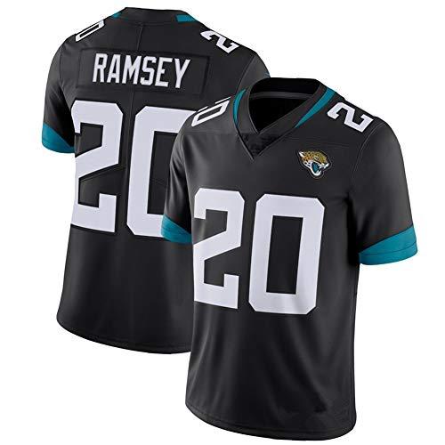 NCNC #20 Jacksonville Jaguars Ramsey Rugby Trikots für Herren und Damen, Fan Edition Stickerei American Football T-Shirt Football Sportswear (S-XXXL) Gr. M, Schwarz