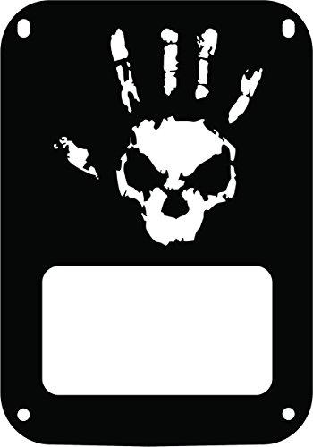 JeepTails Wave Skull Design Tail lamp Light Covers Compatible with Jeep JK Wrangler - Black - Set of 2