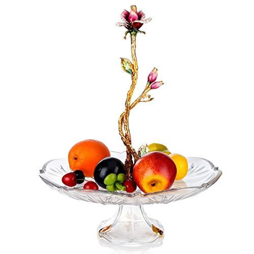 ZHANGYUEFEIFZ Soporte para Tartas Bandeja de Pastel Placa de Frutas Flores secas Europea de Fruta de Cristal del Cuenco de Fruta Bocado de la Torta del Estante de la Fruta Placa Sala