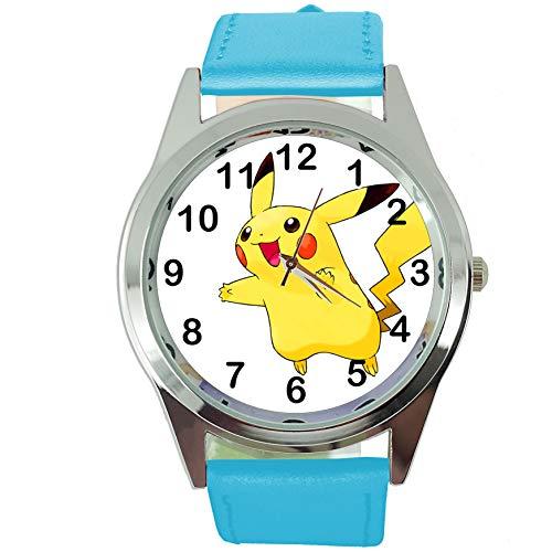 Taport® Montre à quartz ronde Pikachu Pokémon avec bracelet en cuir Bleue