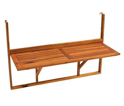 DEGAMO Balkonhängetisch 120x40cm klappbar, Grosse Ausführung, Akazienholz, FSC®-Zertifiziert