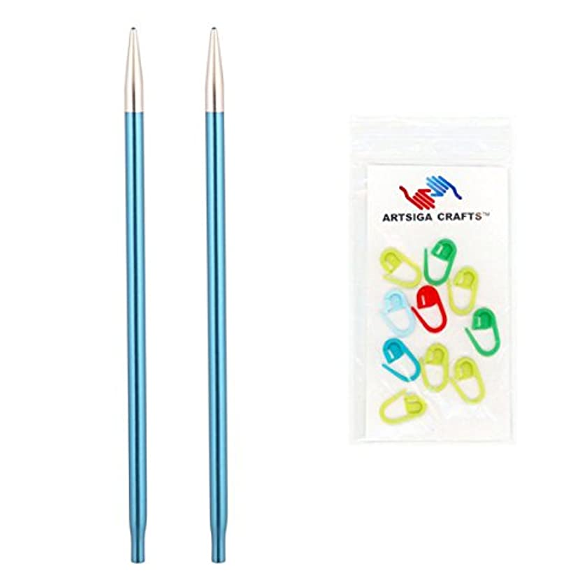 Knitter's Pride Zing Interchangeable 4.5in. Knitting Needle Tips Size US 6 (4mm) Bundle with 10 Artsiga Crafts Stitch Markers 140213