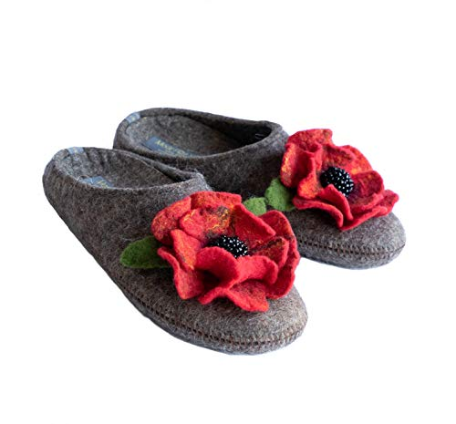 Made For You Women's Natural Wool Slippers with Handmade Poppy Flower, Lightweight and Comfortable...
