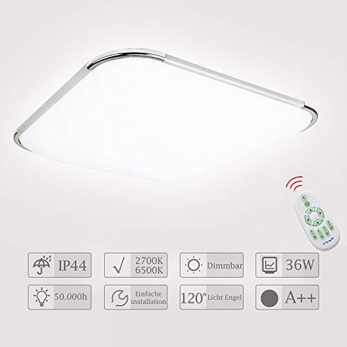 Hengda LED Deckenleuchte Dimmbar 36W Deckenlampe mit Fernbedienung Wohnzimmer Lampe für Bad, Schlafzimmer, Kinderzimmer, Küche, Büro, Flur, Innen IP44