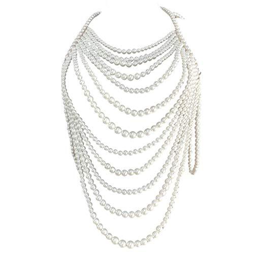 XuHang Damen Halskette mit Kunstperlen und Perlen