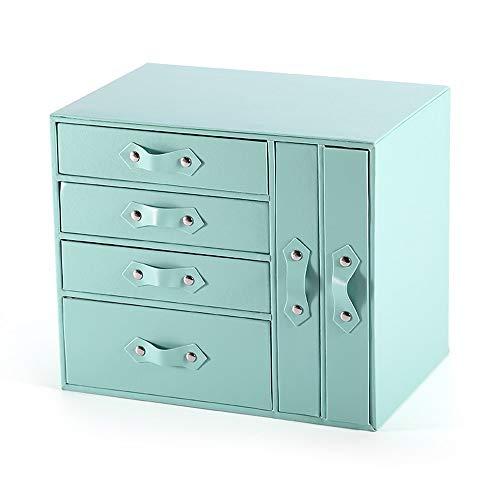 6 capas de alta capacidad de escritorio Caddie, caso de almacenamiento de cuero de la PU la joyería de madera decorativa, de caja de los Organizador con la manija de cuero, for las pulseras Pendientes