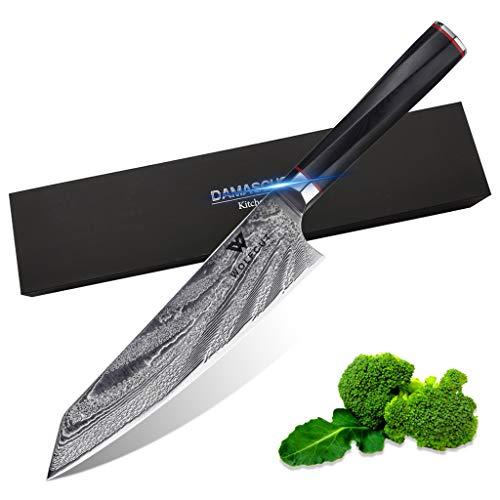 WolfCut Damascus Chefmesser 20 cm 73 Lagigen japanischer Damaszener Stahl
